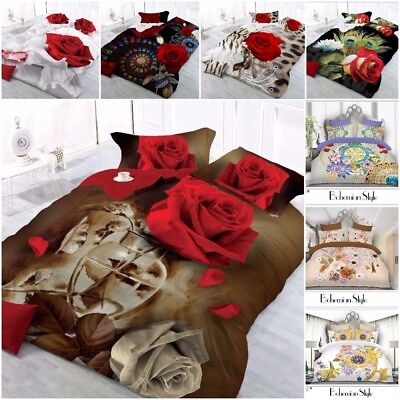 3D Effect Complete Bedding Set With Duvet Cover,Pillow Cases & Fitted Bed Sheet