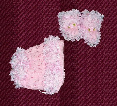 hand knitted baby girls bonnet and bootee set 0 /3 months pink
