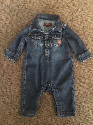 7 for all mankind baby lightweight denim jumpsuit size 0 to 3 months