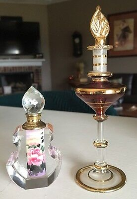 Set of 2 Vintage Egyptian purple Blown Glass Gold Gilded Crystal Floral Perfume