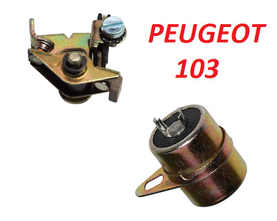 Peugeot 103 104 Capacitor Condenser + Contact Breaker Points Ignition Run Moped