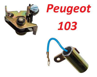 Peugeot 102 103 Capacitor Condenser + Contact Breaker Points Ignition Run Moped