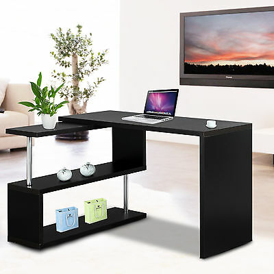 Black Corner L-shape Computer PC Office Desk Home Workstation Table Furniture