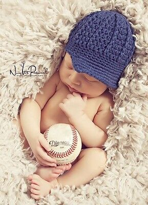Hand Crochet Knitted Baby Hat Paper/News Boy Photo/Photography Prop Newborn -12M