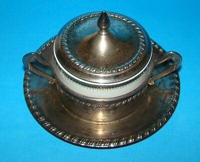 Vintage Silver plated Sugar Bowl with Ceramic Insert/Lid/Saucer Great Condition