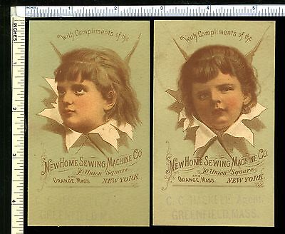 NEW HOME SEWING MACHINE Co. Lot of 2 Matched Victorian Trade Cards Greenfield MA