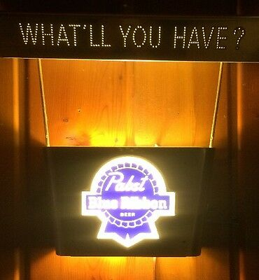 """Pabst Blue Ribbon PBR """"WHAT'LL YOU HAVE"""" Metal Lighted Sign Wall Hanging Lamp"""