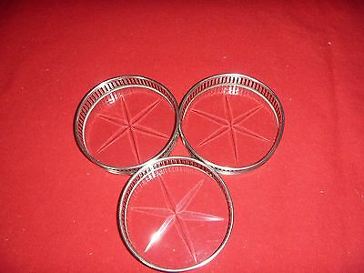 3 Vintage Pierced Sterling Silver Coaster With Cut Glass Base