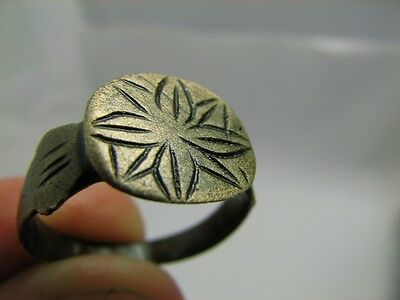 Nice Bronze Viking  Ring With Ornament - Cross !  100% Wearable Artifact #6097