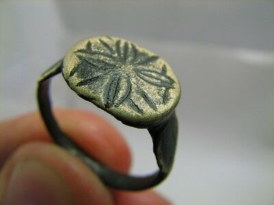 Nice Bronze Viking  Ring With Ornament - Cross !  100% Wearable Artifact #6099