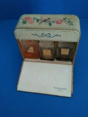 Vintage BIENAIME 3 perfume tester bottle  set, all glass stoppers  c1950