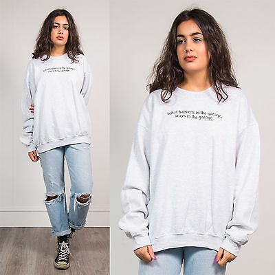 Unisex Retro Grey Crew Neck Sweatshirt Sweater Novelty Funny Garage Slogan  14
