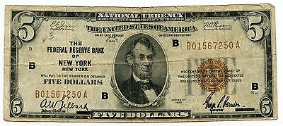 1929 $5 National Currency Note - New York Federal Reserve Bank - AL215