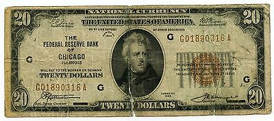 1929 $20 National Currency Note - Chicago Federal Reserve Bank - AL216