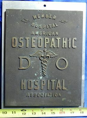 VERY RARE Vintage Bronze American Osteopathic DO Hospital Association Plaque