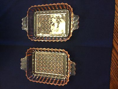 2 Beautiful Pink Depression Glass Dishes with Handles