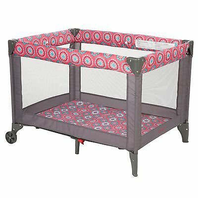 Funsport Playard Baby Playpen Folding Roomy Travel Portable Crib Flowered Carry