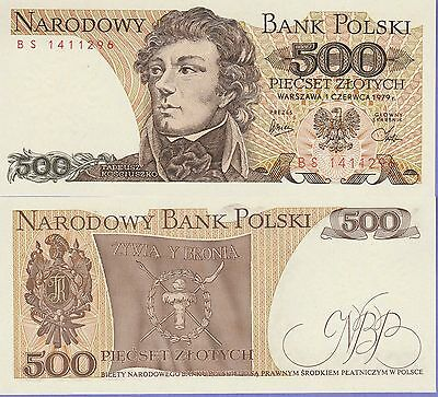 Poland 500 Zlotych Banknote 1979 Uncirculated Condition Cat#145-C