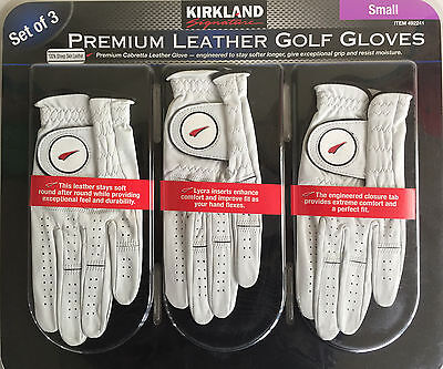 KIRKLAND SMALL PREMIUM LEATHER GOLF GLOVES 100% Sheep Leather perfect fit NEW