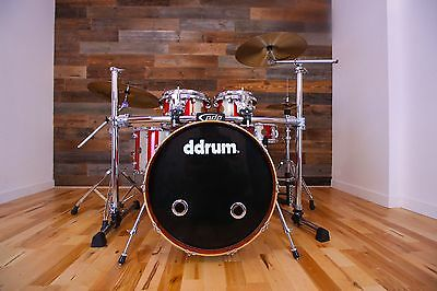 Ddrum Dios African Bubinga Drum Kit Red/silver Sparkle Stripe (Pre-Loved)