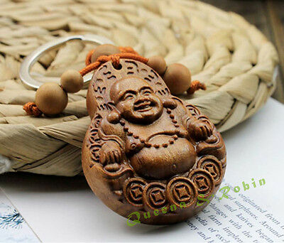 Wood Carving Chinese Happy Maitreya Buddha Statue Sculpture Pendant Key Chain