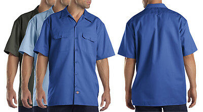 Dickies Mens Short Sleeve Twill Work Shirt Uniform Button Up Front Pocket Large