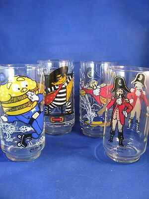 FOUR McDONALD'S CHARACTER DRINKING GLASSES