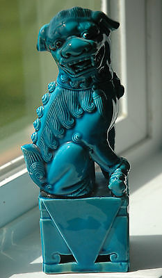 Vintage-Chinese-Turquoise-Blue-Porcelain-Foo-Fu-Dog-Lion-Statue-with tag