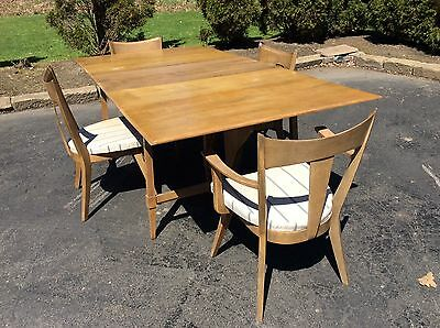 Vintage Heywood Wakefield Wood Dinning Table & 4 Chairs & 2 Leaves - Good