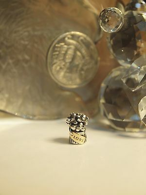 "Genuine / Pandora Charm "" Silver & Gold Pot Plant Love "" Hallmarked - 925 Ale"