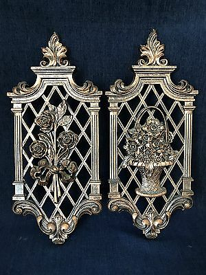Vintage Decorative Floral Wall Hangings Syroco Set Of 2