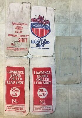 5 Vintage Cloth Lead Shot Sacks, Rare Baltimore~Lawrence~All American~Remington