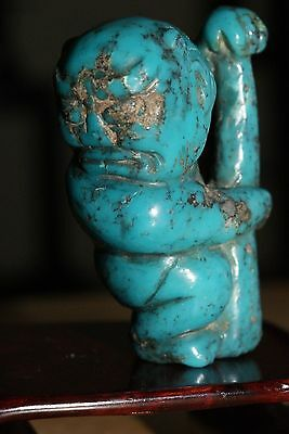 Antique Japanese Turquoise Netsuke, Oni with a Club
