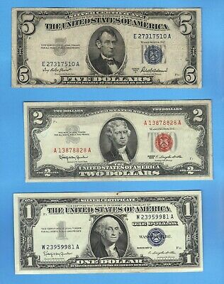 OLD MONEY $1 + $5 SILVER Blue Seal Certificate + $2 Dollar Bill US RED Seal Note