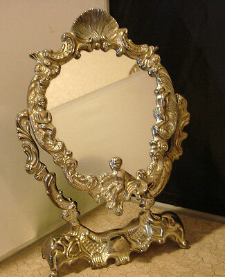 Silver Plated Mirror Roses Angels Cherubs Table Top