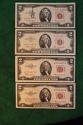 Set of 4 1953C/1963 Red Seal Two Dollar Notes VF+/XF