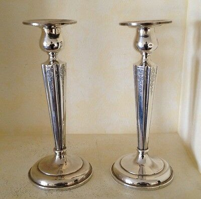 """Birks Sterling Silver Candle Stick Holders Weighted 8"""" Tall"""