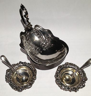 Antique Sterling Silver Salt Cellars 5 Pc. with Floral Pattern