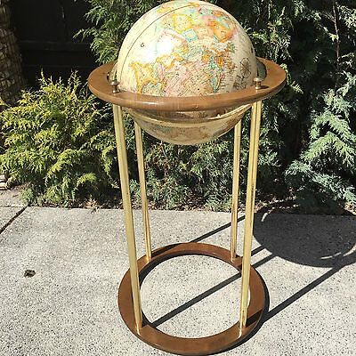 "16"" Wood & Brass Floor Stand Replogle World Classic Terrestrial World Globe MCM"