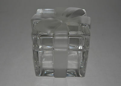 Tiffany & Co Glass Trinket Box With Frosted Bow