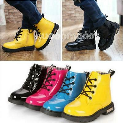 Kids Boots Boys Girls Lace Up&Zipper Ankle Boots Waterproof Casual Shoes Q