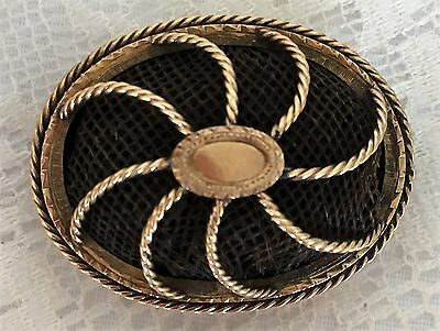 FINE Antique Victorian Edwardian 1837-1910 Gold Mourning Hair Jewelry Pin Brooch