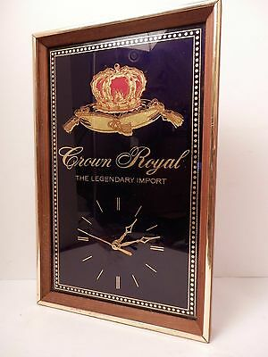Crown Royal Whiskey Clock Mirror Wall Hanging Legendary Import Framed Man Cave