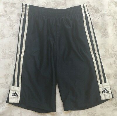 Youth ADIDAS Athletic Shorts Small Basketball Navy Blue White Workout #4