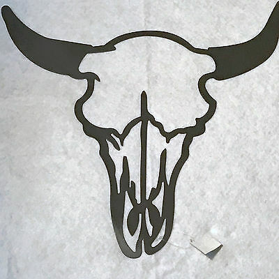 Mancave Country Black Metal Cut-Out Texas Longhorn Wall Art Hanging Plaque