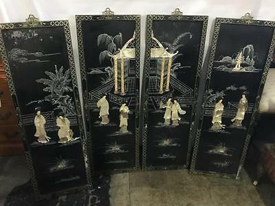 Stunning Japanese Mother Of Pearl 4 Piece Wall Panel On Black Lacquer Wood