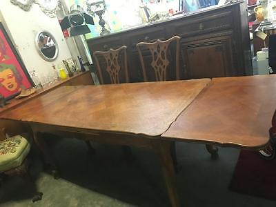 Antique French Oak Parquetry 2  Leaf Extension Dining Table Seats 8-12