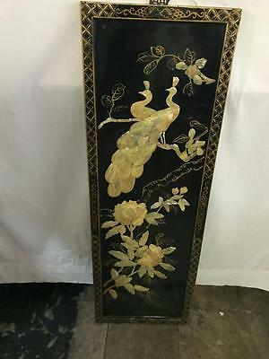 Stunning Japanese Mother Of Pearl Wall Panel On Black Lacquer Wood