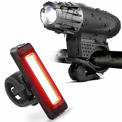 Set USB Rechargeable LED Bike Front Back lamp rear tail Headlight Torch NEW