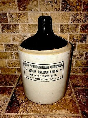 Rare Holy Grail Antique John Wedderburn Stoneware Crock  Whiskey Jug Washington